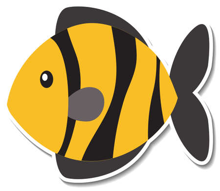 Cute fish sea animal cartoon sticker illustration