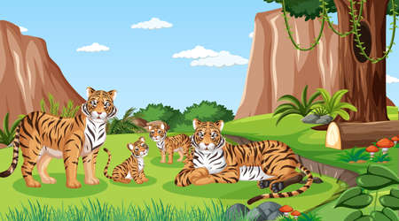 Tiger family in forest at daytime scene illustration Иллюстрация