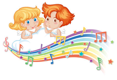 Cupid boy and girl cartoon character with melody symbols on rainbow  illustration