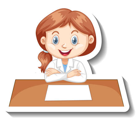 Girl in scientist outfit writing on empty desk illustration Иллюстрация