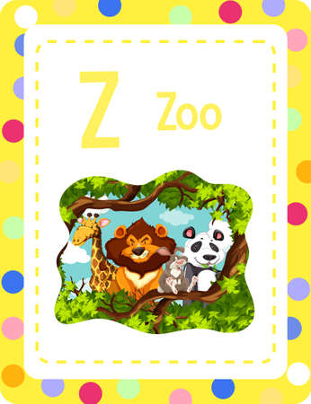 Alphabet flashcard with letter Z for Zoo illustration