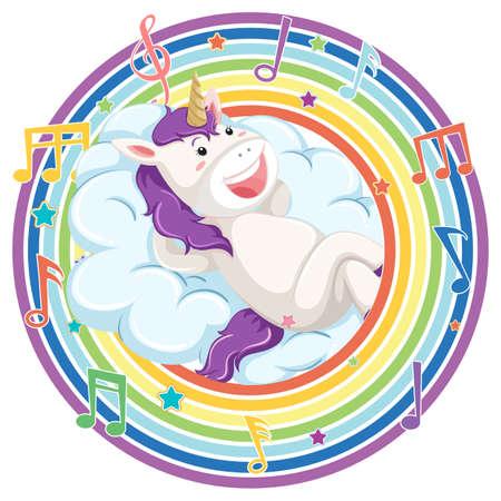 Unicorn in rainbow round frame with melody symbol illustration Иллюстрация