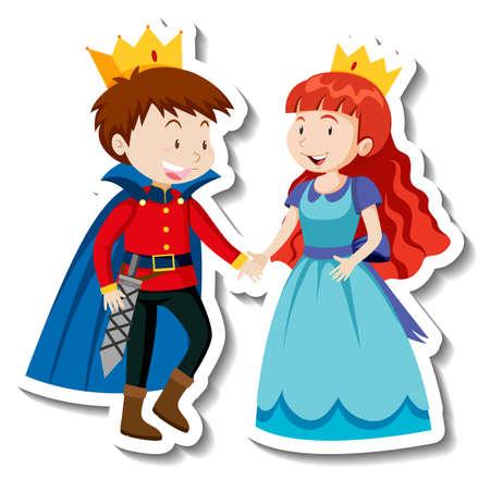 Prince and princess cartoon character sticker illustration Иллюстрация