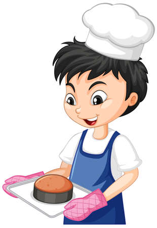 Cartoon character of a chef boy holding tray of cake illustration Иллюстрация
