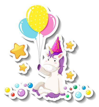 Cute unicorn sitting pose and holding balloons on white background illustration