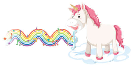 Unicorn standing on the cloud with melody symbols on rainbow wave illustration