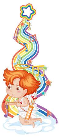 Cupid boy with melody symbols on rainbow wave illustration