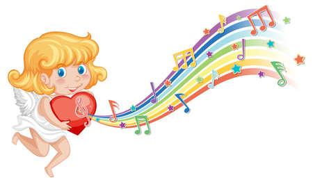 Cupid girl holding heart with melody symbols on rainbow  illustration Иллюстрация