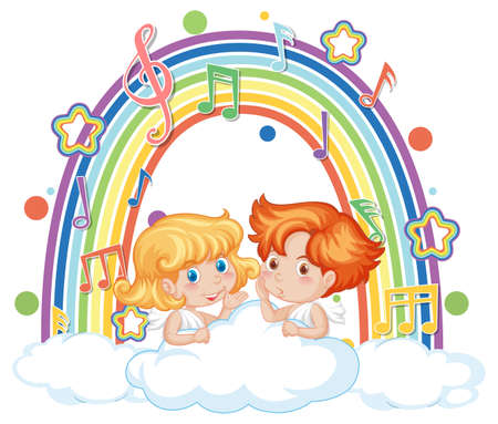 Cupid couple holding with melody symbols on rainbow illustration