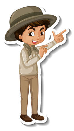 Boy in safari outfit cartoon character sticker illustration