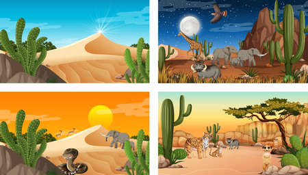 Different scenes with desert forest landscape with animals and plants illustration Иллюстрация