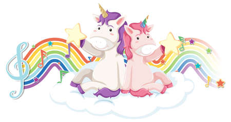 Unicorn sitting on the cloud with melody symbols on rainbow wave illustration