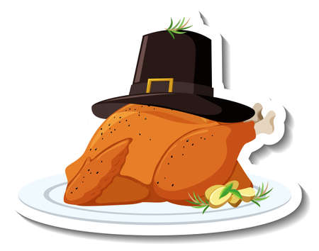 Roasted chicken on a plate with hat illustration