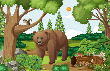 Scene with grizzly bear in the forest at daytime illustration Иллюстрация