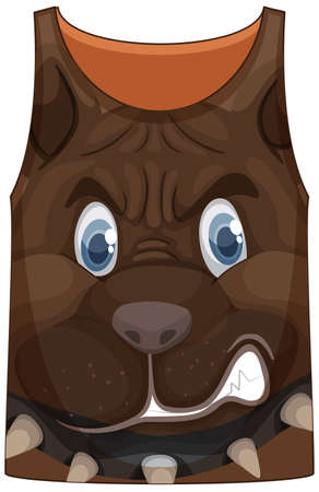 Tank top with face of fierce dog pattern illustration
