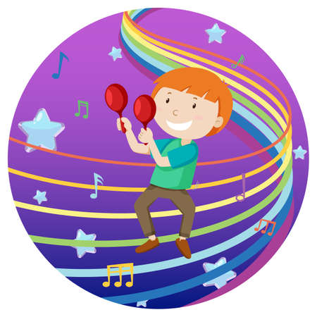 Happy boy playing maracus with rainbow melody on blue and purple gradient background illustration Иллюстрация