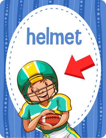 Vocabulary flashcard with word Helmet illustration