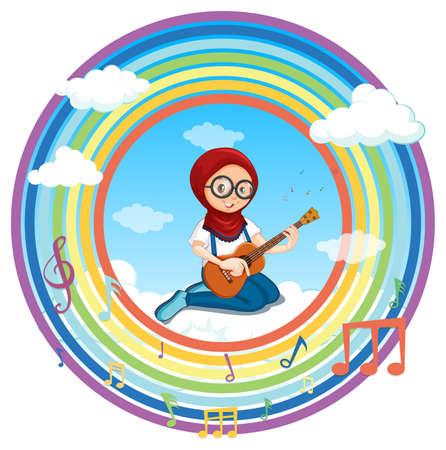 Muslim girl playing guitar in rainbow round frame with melody symbol illustration Иллюстрация