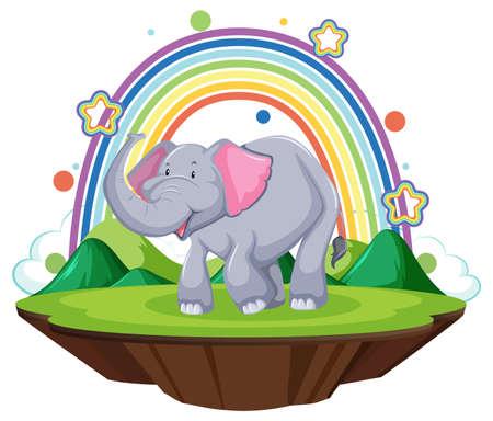 An elephant standing on the land with rainbow  illustration Иллюстрация