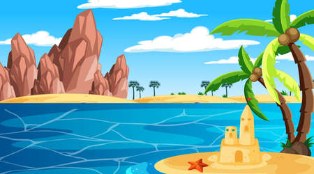 Beach at daytime landscape scene with sand castle and palm tree illustration