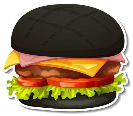 Charcoal hamburger sticker on white background illustration Иллюстрация
