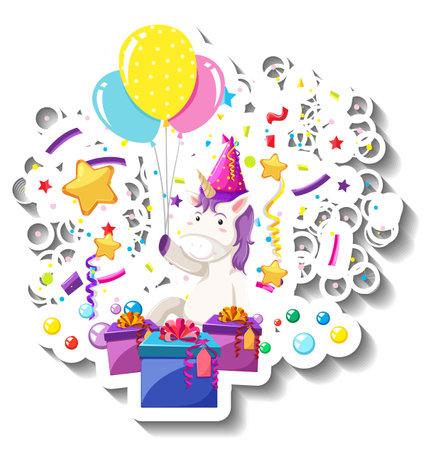 Happy unicorn with gift box and confetti rainbow illustration