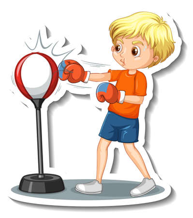 Cartoon character sticker with a boy punching illustration Vetores