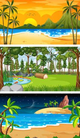 Set of different forest horizontal scenes in different times illustration Vektorgrafik