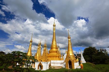 monsoon clouds: Myanmar waters temple at Tallinn Stock Photo