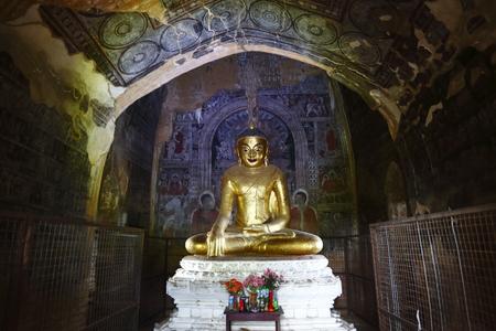darkroom: Buddha statue in Bagan, Burma Editorial