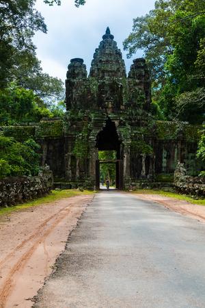 Kampuchea Siem Reap ancient city gate of Angkor Editorial