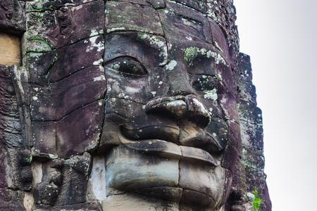 Kampuchea Angkor, carved  Bayon Erawan, close-up Stock Photo