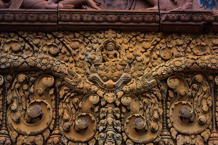 Kampuchea Siem Reap  carved wall art close-up