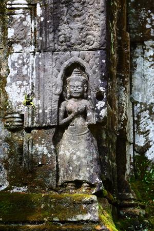 Kampuchea Siem Reap Angkor Apsara Carving Close-Up