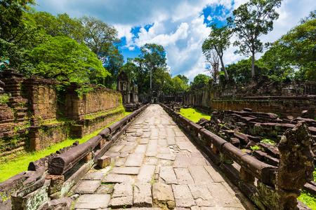 Kampuchea Siem Reap Preah Khan walkway Stock Photo