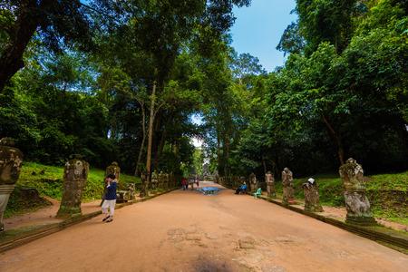 Kampuchea Siem Reap Preah Khan walkway Editorial
