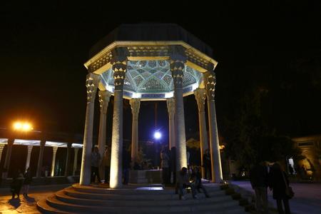hafez: Iran Shiraz Hafez tomb at night Editorial