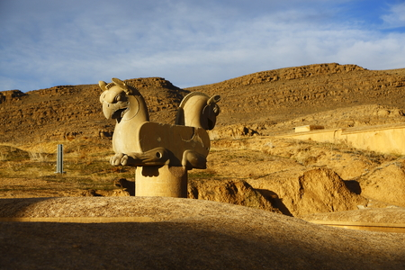 double headed: Double headed Griffin sculpture at Iran persepolis scenic spot
