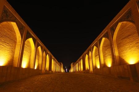 Khaju Bridge at night, Isfahan, Iran