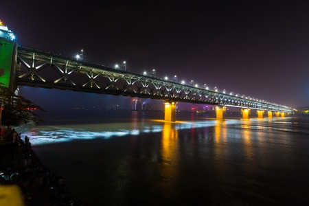 Night view of Yangtze River bridge, Wuhan, Hubei, China Stock Photo