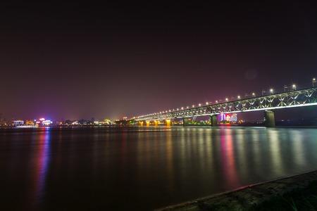 wuhan: Night view of Yangtze River bridge, Wuhan, Hubei, China Stock Photo