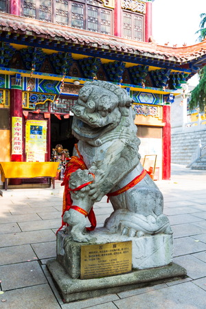 stone lion: stone lion at Hubei city of Wuhan province Baotong Temple