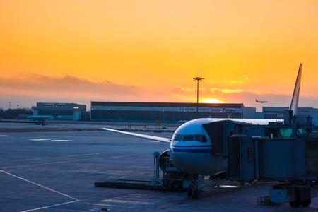Airport at dusk Editorial