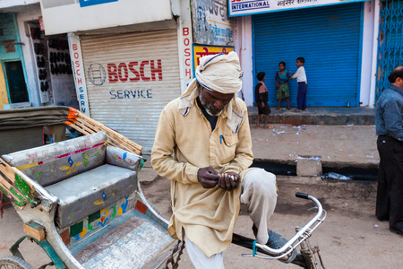Varanasi India roadside rickshaw driver