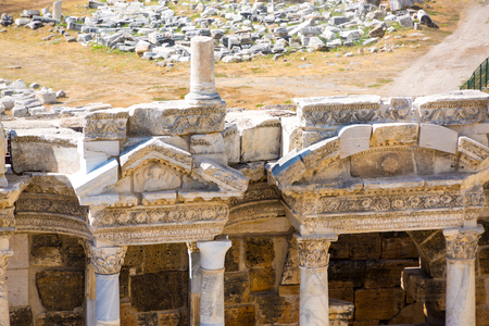 Details of the site of the Pamukkale Grand Theater in Turkey