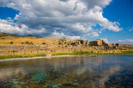 Scenery of plutonium pool in Pamukkale, Turkey
