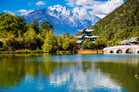 Black dragon Pool, Lijiang, Yunnan, China, Jade Dragon Snow Mountain