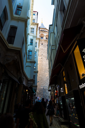 Galata Tower in the alleys of Istanbul, Turkey