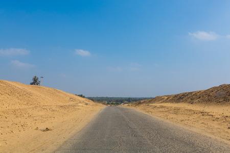 Highway in the desert of Giza, Egypt