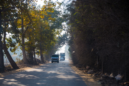 Early morning on the road to the suburbs of Cairo, Egypt